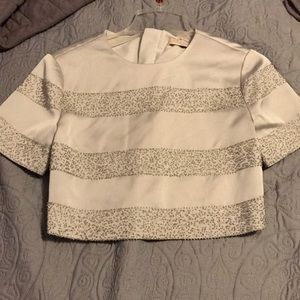 Beautiful silver blouse with sequined strips